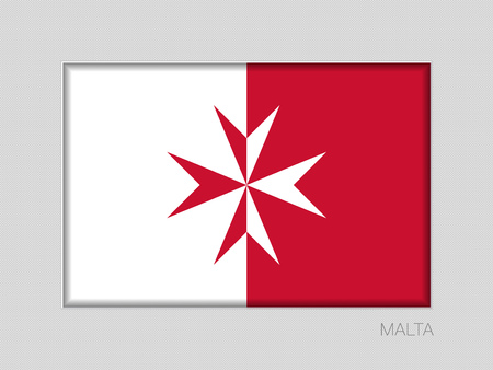 Flag of Malta. Version with Maltese Cross. National Ensign Aspect Ratio 2 to 3 on Gray Cardboard.