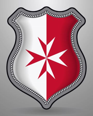 Flag of Malta. Version with Maltese Cross. Vector Badge and Icon. Horizontal Orientation Version Illustration
