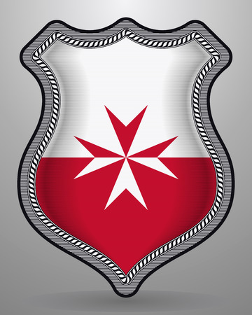 Flag of Malta. Version with Maltese Cross. Vector Badge and Icon. Vertical Orientation Version  イラスト・ベクター素材