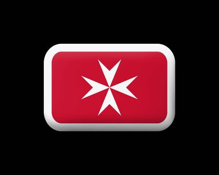 Flag of Malta. Version with Maltese Cross. Matted Vector Icon and Button. Rectangular Shape with Rounded Corners