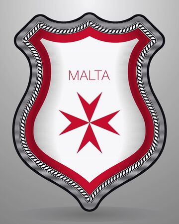 Flag of Malta. Version with Maltese Cross with Country Name. Vector Badge and Icon.