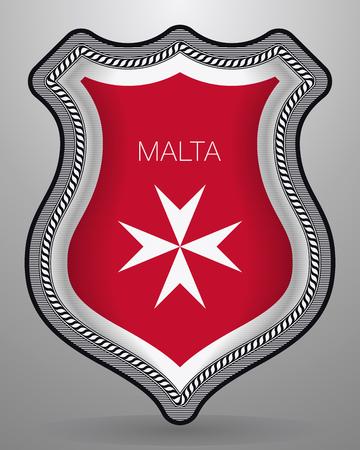 Bandera de malta Versión con cruz maltesa con nombre del país. Insignia de vector e icono