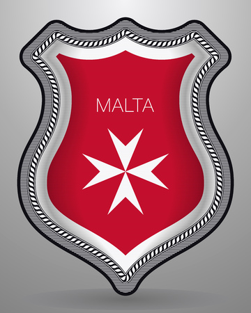 Flag of Malta. Version with Maltese Cross with Country Name. Vector Badge and Icon