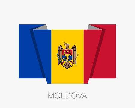 Bandera de Moldavia Icono plano ondeando la bandera con el nombre del país sobre un fondo blanco