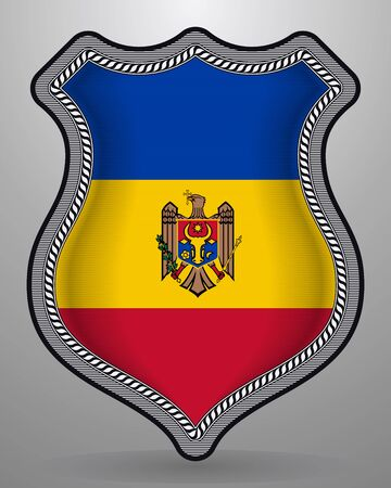 Flag of Moldova. Vector Badge and Icon. Vertical Orientation Version