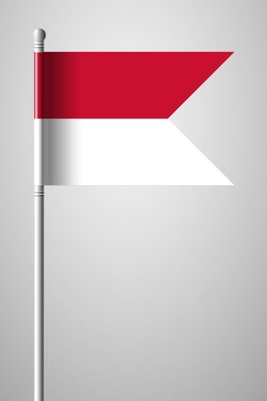 Flag of Monaco. National Flag on Flagpole. Isolated Illustration on Gray Background