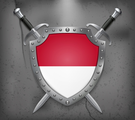 Flag of Monaco. The Shield with National Flag. Two Crossed Swords. Vector Medieval Background