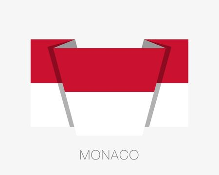 Flag of Monaco. Flat Icon Waving Flag with Country Name on a White Background Illustration