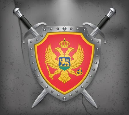 Flag of Montenegro, the shield with national flag. Two crossed swords vector medieval background. Ilustracja