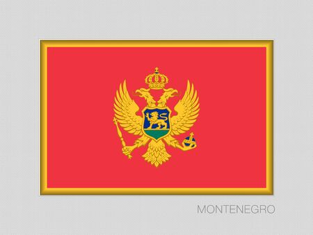 Flagge von Montenegro, nationales Fahnen-Seitenverhältnis 2 zu 3 auf grauer Pappe.