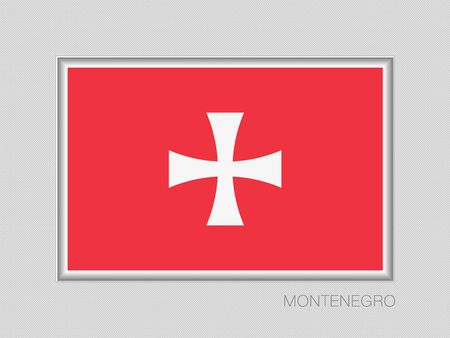 Historical Montenegrin flag, national ensign aspect ratio 2 to 3 on gray cardboard. Illustration