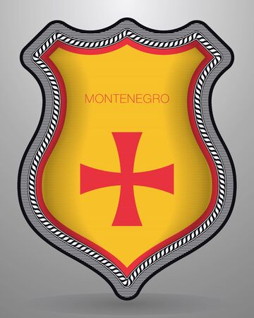 Historical Montenegrin Flag Badge and Icon on Gray Background.