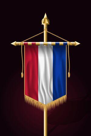 Flag of Netherlands. Festive Vertical Banner. Wall Hangings with Gold Tassel Fringing Illustration