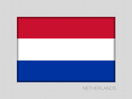Flag of Netherlands. National Ensign Aspect Ratio 2 to 3 on Gray Cardboard Illustration