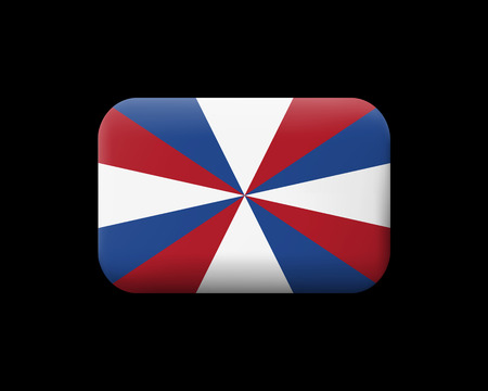 Dutch Flag The Prinsengeus. Matted Vector Icon and Button. Rectangular Shape with Rounded Corners