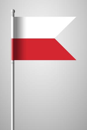 Flag of Poland. National Flag on Flagpole. Isolated Illustration on Gray Background