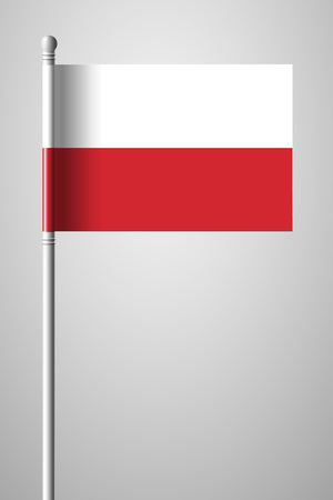 Flag of Poland. National Flag on Flagpole. Isolated Illustration on Gray Background