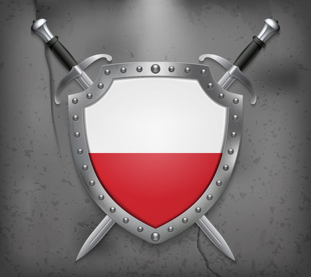 Flag of Poland. The Shield with National Flag. Two Crossed Swords. Vector Medieval Background 矢量图像
