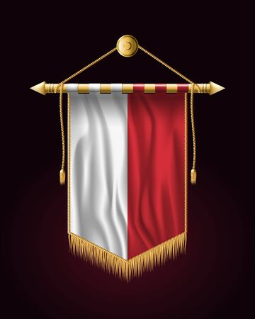 Flag of Poland. Festive Vertical Banner. Wall Hangings with Gold Tassel Fringing