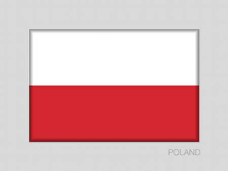 Flag of Poland. National Ensign Aspect Ratio 2 to 3 on Gray Cardboard