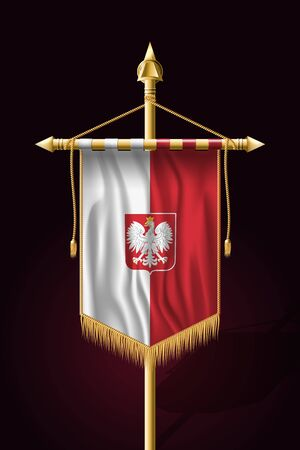 Flag of Poland with Eagle. Festive Vertical Banner. Wall Hangings with Gold Tassel Fringing Ilustrace