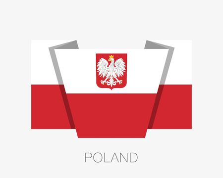 Flag of Poland with Eagle. Flat Icon Waving Flag with Country Name on a White Background