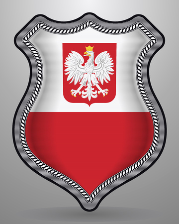Flag of Poland with Eagle. Vector Badge and Icon. Horizontal Orientation Version Illustration