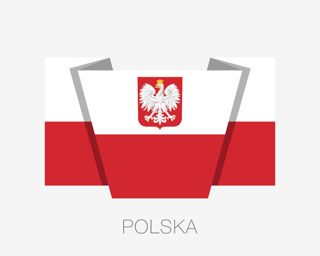 Flag of Poland with Eagle. Flat Icon Waving Flag with Country Name Written in Polish on a White Background