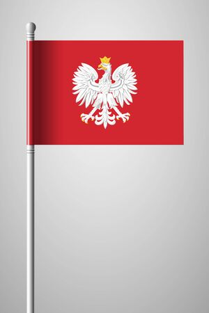 Eagle with a Crown. The National Emblem of Poland. National Flag on Flagpole. Isolated Illustration on Gray Background