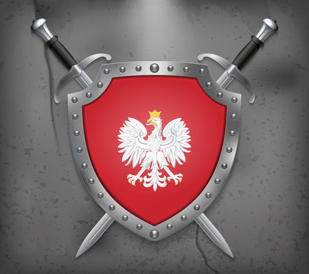 Eagle with a Crown. The National Emblem of Poland. The Shield with National Flag. Two Crossed Swords. Vector Medieval Background Ilustrace