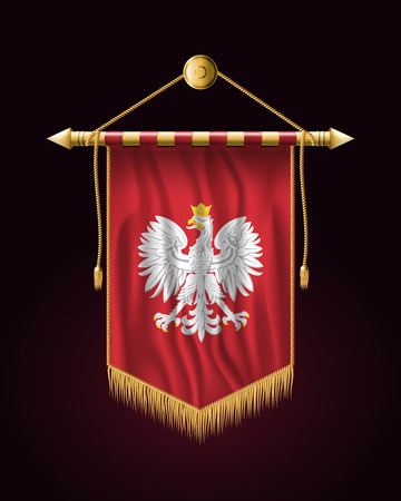 Eagle with a Crown. The National Emblem of Poland. Festive Vertical Banner. Wall Hangings with Gold Tassel Fringing