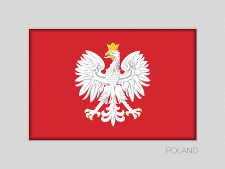 Eagle with a Crown. The National Emblem of Poland. National Ensign Aspect Ratio 2 to 3 on Gray Cardboard