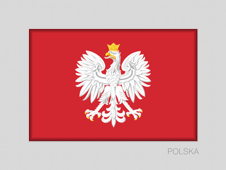 Eagle with a Crown. The National Emblem of Poland. National Ensign Aspect Ratio 2 to 3 on Gray Cardboard. Written in Polish Illustration