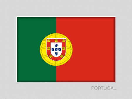 Flag of Portugal. National Ensign Aspect Ratio 2 to 3 on Gray Cardboard
