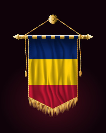 Flag of Romania. Festive Vertical Banner. Wall Hangings with Gold Tassel Fringing