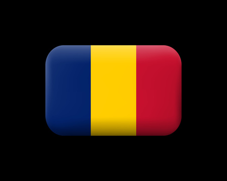Flag of Romania. Matted Vector Icon and Button. Rectangular Shape with Rounded Corners