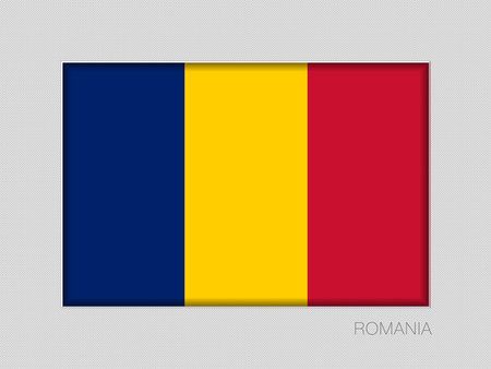 Flag of Romania. National Ensign Aspect Ratio 2 to 3 on Gray Cardboard Illustration