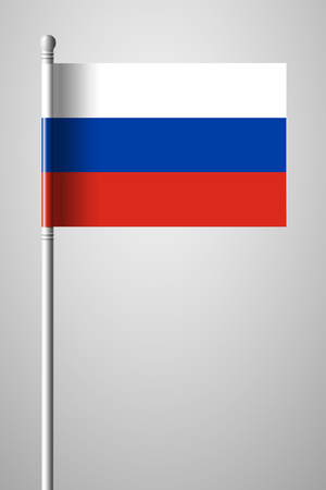 Flag of Russia. National Flag on Flagpole. Isolated Illustration on Gray Background Ilustração