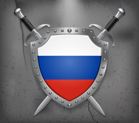 Flag of Russia. The Shield with National Flag. Two Crossed Swords. Vector Medieval Background