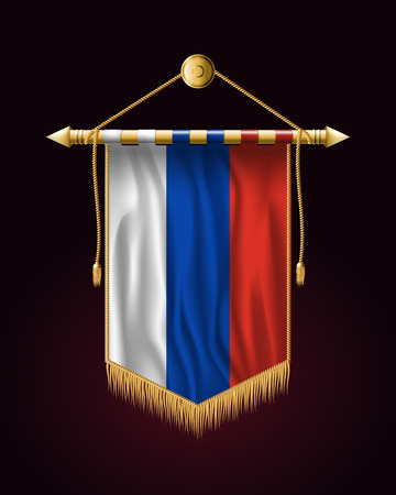 Flag of Russia. Festive Vertical Banner. Wall Hangings with Gold Tassel Fringing