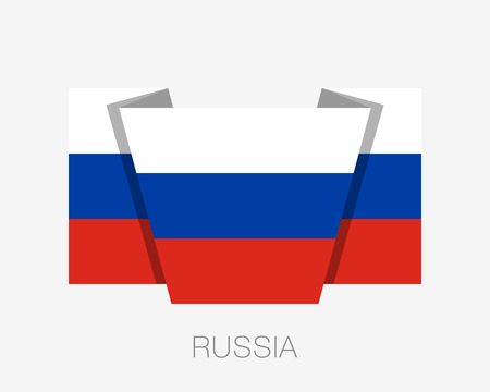Flag of Russia. Flat Icon Waving Flag with Country Name on a White Background Ilustração
