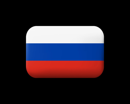 Flag of Russia. Matted Vector Icon and Button. Rectangular Shape with Rounded Corners Ilustração