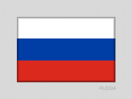 Flag of Russia. National Ensign Aspect Ratio 2 to 3 on Gray Cardboard Ilustração