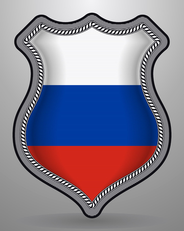 Flag of Russia. Vector Badge and Icon. Horizontal Orientation Version