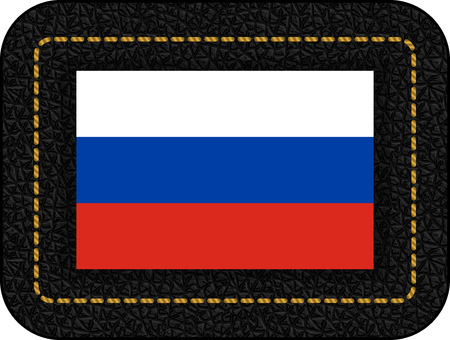 Flag of Russia. Vector Icon on Black Leather Backdrop. Aspect Ratio 2:3