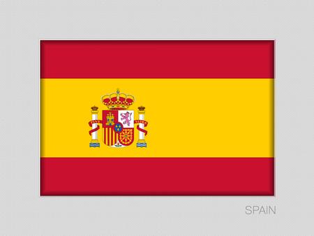 Flagge von Spanien. National Ensign Seitenverhältnis 2 zu 3 auf grauem Karton