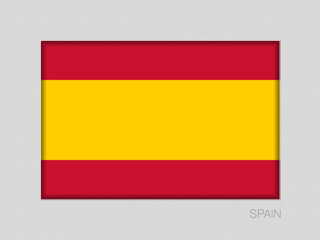 Flag of Spain without Coat of Arms. National Ensign Aspect Ratio 2 to 3 on Gray Cardboard