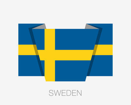 Flag of Sweden. Flat Icon Waving Flag with Country Name on a White Background