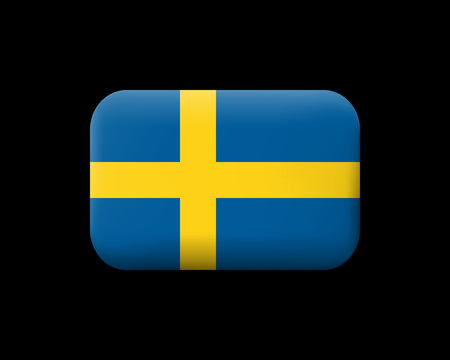 Flag of Sweden. Matted Vector Icon and Button. Rectangular Shape with Rounded Corners