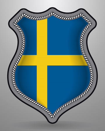 Flag of Sweden. Vector Badge and Icon. Horizontal Orientation Version